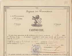1883 Bruxelles Cartouche Régiment Des Grenadiers André Joseph - Documenten