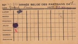 Carte Armée Belge Des Partisans Partisan Résistance Gérard Commandant 1er Régiment PA Corps 04 1944 - Documenten