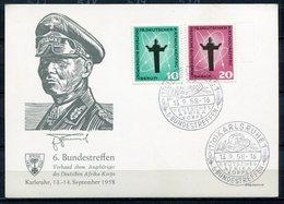 """Germany 1958 Sonderkarte Deutsche Wehrmacht/Afrika-Korps Mit.Bln.Mi.179/80 Mit SST""""Karlsruhe-6.Bundestreffen Dt.""""1 Beleg - Allemagne"""