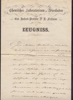 Zeugniss 1866 Chemisches Laboratorium Wiesbaden Signiert Fresenius - Autogramme & Autographen