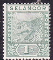 Malaysia-Selangor SG 49 1891 1c Green, Mint Hinged - Selangor