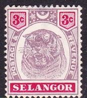 Malaysia-Selangor SG 54 1895 3c Dull Purple And Carmine, Mint Hinged - Selangor