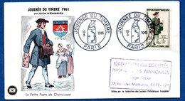 Enveloppe Premier Jour / La Petite Poste De Chamousset / 18-03-1961 / Paris - 1960-1969
