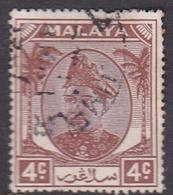 Malaysia-Selangor SG 93 1949 Sultan Shah, 4c Brown, Used - Selangor