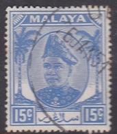 Malaysia-Selangor SG 100 1949 Sultan Shah, 15c Ultramarine, Used - Selangor
