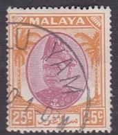 Malaysia-Selangor SG 103 1949 Sultan Shah, 25c Purple And Orange, Used - Selangor