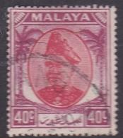 Malaysia-Selangor SG 106 1949 Sultan Shah, 40c Scarlet And Purple, Used - Selangor