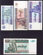 MYANMAR Ex BURMA.BILLETS DE 1, 5, 10 Et 20 KYATS UNCIRC. (BB22) - Myanmar