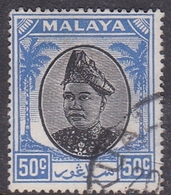 Malaysia-Selangor SG 107 1949 Sultan Shah, 50c Black And Blue, Used - Selangor