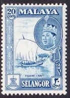 Malaysia-Selangor SG 135 1962 Sultan Shah, 20c Blue, Mint Never Hinged - Selangor