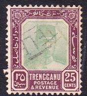 Malaysia-Trengganu SG 31 1921 Sultan Suleiman, 25c Green And Deep Purple, Used - Trengganu