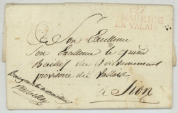Simplon . Rare Marque 127 ST MAURICE EN VALAIS / LàC 1814 Bourgmestre De Monthey Darbellay . Inspection Du Rhône . Sion - 1792-1815: Départements Conquis