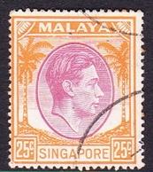 Singapore SG 25  1950 King George VI, 25c Purple And Orange, Used - Singapore (...-1959)