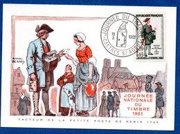 Carte Premier Jour  / Facteur De La Petite Poste / Castres Sur Agout  / 18-03-1961 - Maximumkarten