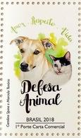Brazil Stamp Animal Defense Dog Cat 2018 - Brasil