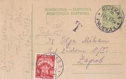 Yugoslavia Postage Due 10 Din On Stationery Rijeka Zagreb 1957 - Portomarken