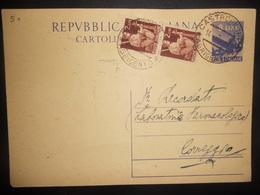 Italie Entier Postal De Castrofilippo 1949 Pour Correggio - 1946-.. République