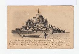 Carte Postale Du Mont Saint Michel.Timbrée Avec Mouchon 10c. Type I. Cachet Ambulant. (527) - Marcophilie (Lettres)
