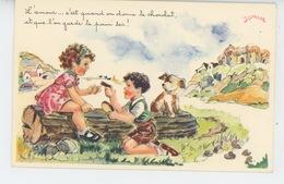 """Illustrateur JANSER - DOG - Jolie Carte Fantaisie Enfants Avec Chien """"L'amour..c'est Quand On Donne Le Chocolat...."""" - Janser"""