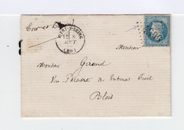 Sur Lettre. 1869. Type Louis Napoléon Bonaparte 20c. Type II. Oblitération Losange Gros Chiffres. (528) - Marcophilie (Lettres)