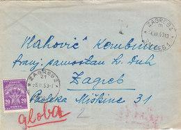 Yugoslavia Postage Due 20 Din , Sent From Zagreb To Zagreb 1953 - Portomarken
