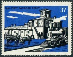 USA Railway Railroad TRAIN Steam Locomotive Eisenbahn Chemin De Fer HORSE Pferd Cheval Poster Vignette Reklamemarke - Trains