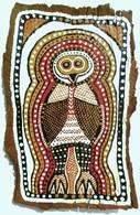 Chouette Oiseau Peinture Owl Toile Tableau Réalisation Sur écorce D'arbre (eucalyptus) Art Aboriginal  Aborigène. - Other Collections