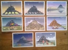 Série De 9 Cartes Postales Du Mont Saint Michel Illustrateur Bourclaude - Bâtiments & Architecture