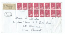 Enveloppe Recommandée Avec 14 Timbre Type Bequet - Marcophilie (Lettres)