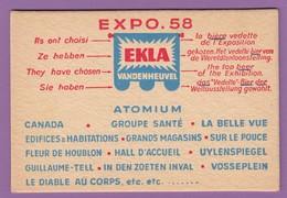 """EXPO 58. CARTE PUBLICITAIRE """"EKLA"""" SUR CARTON ÉPAIS ET OBLITÉRÉ BRUXELLES EXPO. - Belgique"""