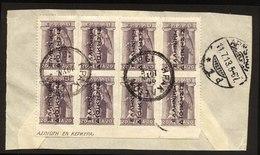 A5522) Besetzung Greece Briefstück 8x 20 Lepta Schwarzer Aufdruck Used - Griechenland