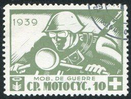 MOTORCYCLE Switzerland 1939 Field Post Military Cycling Motorrad Cp.10 Poste Militaire Suisse Feldpost Schweiz Vignette - Motorräder