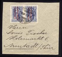 A5523) Besetzung Greece Briefstück 2x 25 Lepta Roter Aufdruck Used - Griechenland