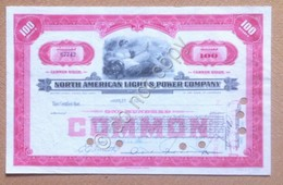 Azioni Shares Certificato 100 Azioni North America Light And Power Company 1948 - Non Classificati