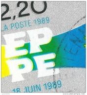 N° 2572   Elections Au Parlement Européen 18 Juin  Oblitéré Timbre FRANCE 1989 Variété Décalage Couleur Stamp Of French - Curiosidades: 1980-89 Usados