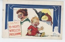 """Illustrateur FRED SPURGIN - ENFANTS - CAT - Jolie Carte Fantaisie Enfants """"T.S.F. Concert De Ce Soir """" - Spurgin, Fred"""