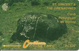 CARTE-µ-MAGNETIQUE-St VINCENT & Les GRENADINES-EC20$CARIB PETROGLYPH /Mt WYNNE-EC20-BE-RARE - San Vicente Y Las Granadinas