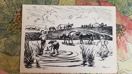 "Mongolia -  Old Postcard "" At The River"" By Baldan Bazaryn -  1959 - Naked Boy - Horse - Mongolia"