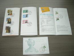 BELG.1989 2312-14 & 2315-17 & 2318 & BL65 Sur Feuillets De La Poste FR. (3 Folders+BL Avec Gomme MNH) (Oblitéré Premier - 1981-90