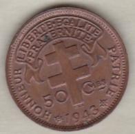 AFRIQUE EQUATORIALE FRANCAISE LIBRE. 50 CENTIMES 1943 . CUIVRE - Monnaies