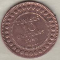 PROTECTORAT FRANCAIS. 10 CENTIMES 1891 A. BRONZE. - Tunisie