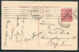 1912 Portugal Stationery Postcard. Lisboa Azores - Prague Praha Prag - 1910-... Republic