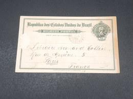 BRÉSIL - Entier Postal De Sao Paulo Pour Paris En 1909 - L 19090 - Postal Stationery