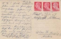ITALIEN 1937 - 3 Fach Frankierung Auf Ak S.MARINO - 1900-44 Victor Emmanuel III.