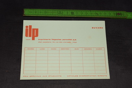 Buvard Horaire De Cour Imprimerie Liègeoise Poncelet Orange 16,5 Cm X 12 Cm - Stationeries (flat Articles)