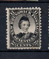 Canada New Brunswick 17 Cent Black Heavy Mounted Mint - Unused Stamps