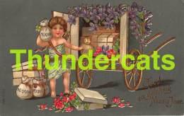 CPA EN RELIEF GAUFREE ANGE  BONNE ANNEE EMBOSSED NEW YEAR CARD ANGEL CUPID  MSIB - Anges