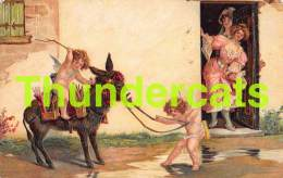 CPA EN RELIEF GAUFREE ANGE  BONNE ANNEE EMBOSSED NEW YEAR CARD ANGEL CUPID DONKEY MULE ANE - Anges