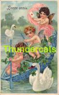 CPA EN RELIEF GAUFREE ANGE  BONNE ANNEE EMBOSSED NEW YEAR CARD ANGEL CUPID SWAN CYGNE MSIB - Anges