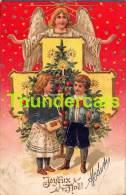 CPA EN RELIEF GAUFREE ANGE  BONNE ANNEE EMBOSSED NEW YEAR CARD ANGEL GUARDIEN - Anges